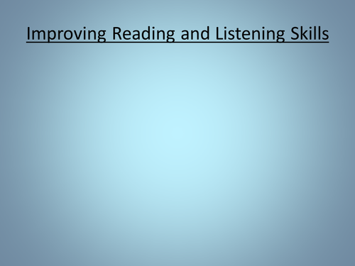 Improving Listening and Reading (GCSE German)
