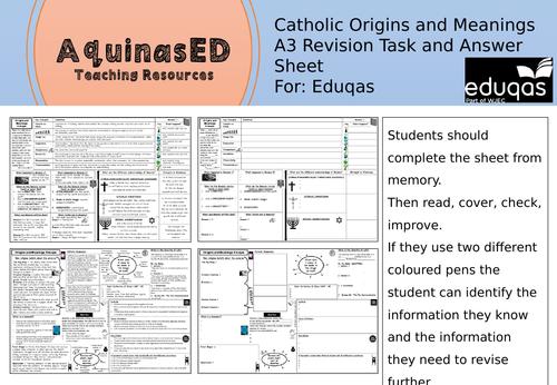 EDUQAS Revision A3 SHEET Catholic Origins and Meanings