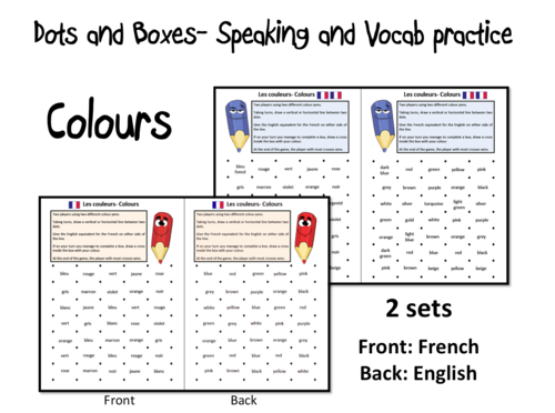 Dots and Boxes- Colours/ Les couleurs- French KS2-KS3
