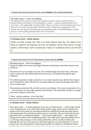 CCEA GCSE English Unit 4 - Compare & Contrast Christmas Task