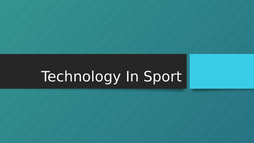 Cambridge Nationals: Technology in Sport