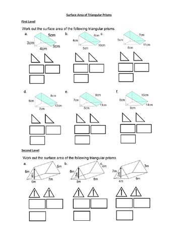 Surface Area of Triagular Prisms - GEOMETRY 3D SHAPES - with ANSWERS