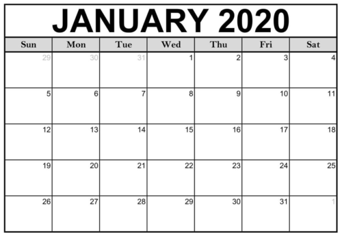 calendar printable 2020
