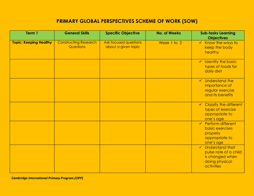 Scheme of Work in Global Perspectives