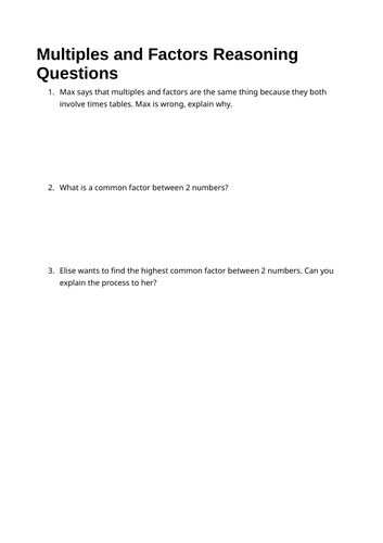 Factors and Multiples Reasoning Qs