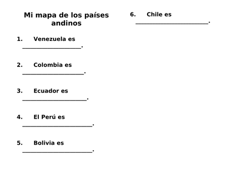 South America Andes Map in Spanish / Cultural Activity / Paises Andinos