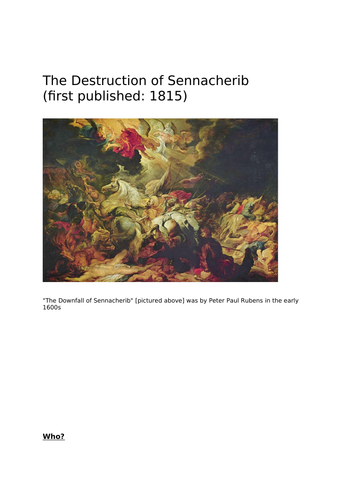 GCSE AQA Power and Conflict   Lesson Plan for Destruction of Sennacherib and Charge of the Light...