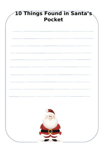 10 Things Found in Santa's Pocket - List Poem Template