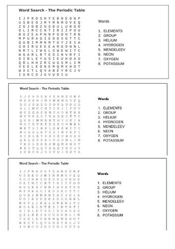 Word Search - Periodic Table