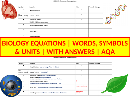 Biology Equations | Worksheets | Activities | Revision | AQA | Combined & Triple