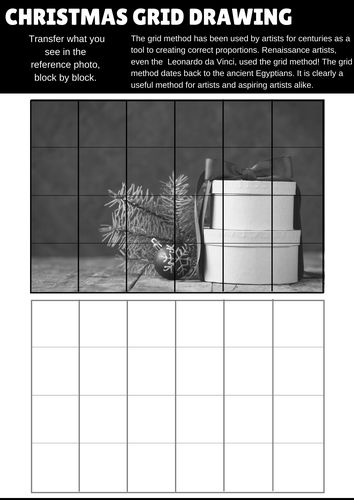 15 Christmas Art and Design grid drawing worksheets