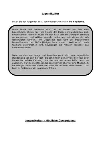 Jugendkultur - translation into English for A Level German