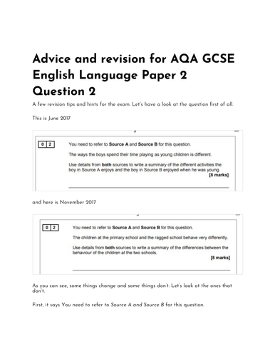 Advice and revision for AQA GCSE English Language Paper 2 Question 2