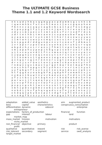 The ULTIMATE GCSE Business  Theme 1.1 and 1.2 Keyword Wordsearch