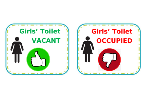 Toilet signs for primary classroom door