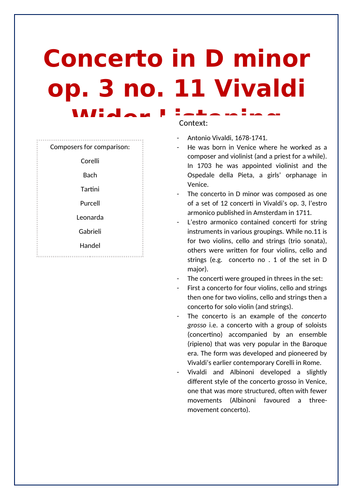 Edexcel A Level Music Vivaldi Wider Listening and Context