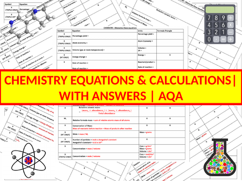 Chemistry Equations | Worksheets | Activities | Revision | AQA | Combined & Triple