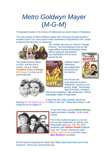FILM STUDIES - GOLDEN AGE HOLLYWOOD STUDIOS