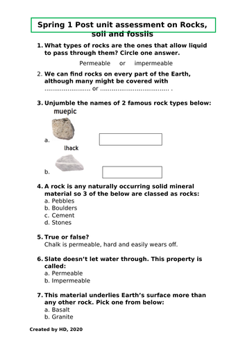 Rocks soil fossils Year 3 post unit assessment Lower KS2 science