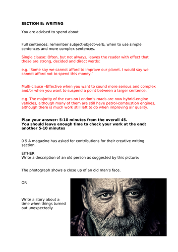 Question 5 AQA English Language - November 2018 Creative Writing