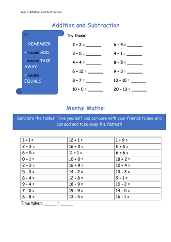 Y1 Maths - Addition/Subtraction (Free)