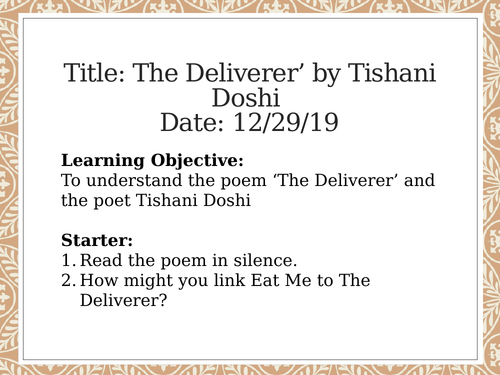 The Deliverer - Edexcel A Level - Poems of the Decade