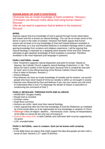 OCR RELIGIOUS STUDIES- Knowledge of God's Existence ESSAY PLANS