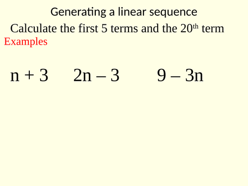 Nth term - generating a sequence and finding the nth term of a linear sequence