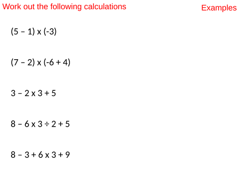 Order of operations with negatives