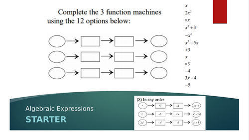 Algebraic Expressions Starter