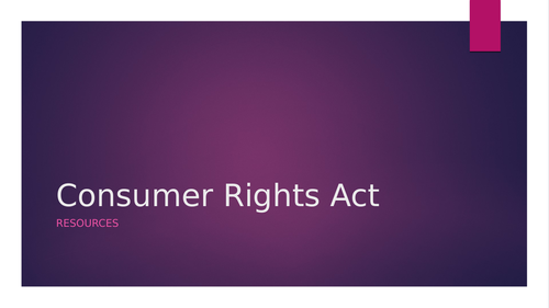 consumer rights booklet + ppt /revision sheet/ sample answer.
