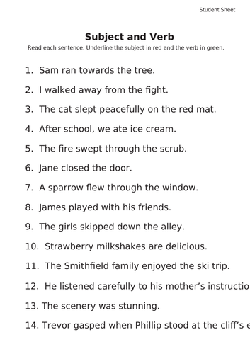 Sentence Structure - Subject and Verb