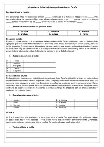 Spanish A Level La gastronomía y las tradiciones y costumbres - Resources on Gastronomy in Spain