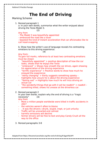 National 5 RUAE Practice Paper - The End of Driving
