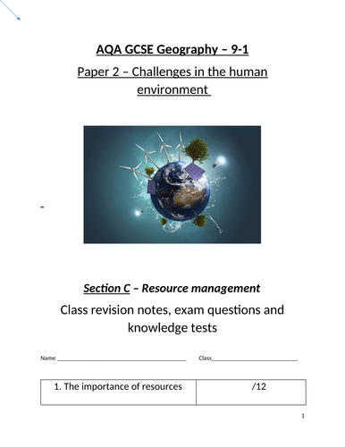Resource management - revision work booklet AQA Geography GCSE