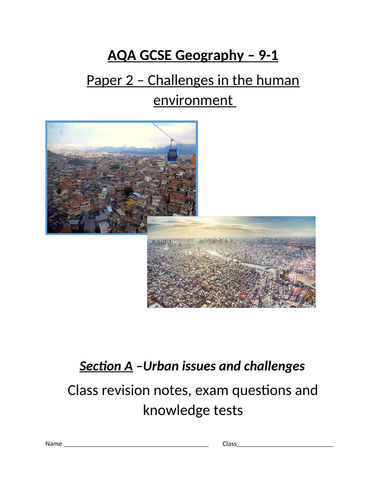 AQA Geography GCSE -Urban issues and challenges student revision work booklet