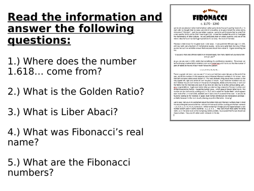 Fibonacci Type Sequences Lesson and Resources
