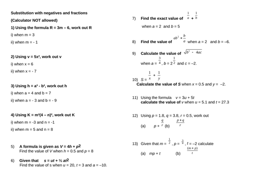 Substitution with negatives and fractions with answers