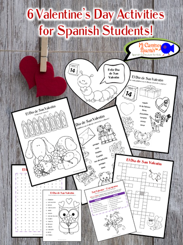 6 Valentine's Day Activities for Spanish Students! (Just print!)