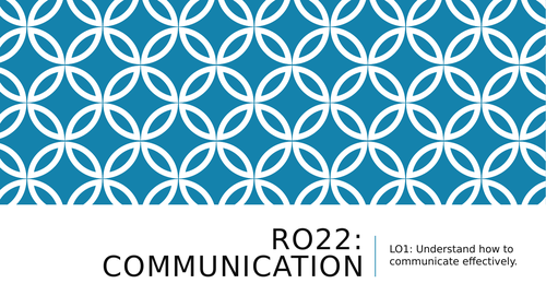RO22 Health Social Care Communication LO1 resources