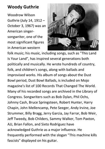 Woody Guthrie Handout
