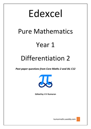 Pearson Edexcel GCE Mathsmatice Differentiation past exam questions from C2 & IAL C12