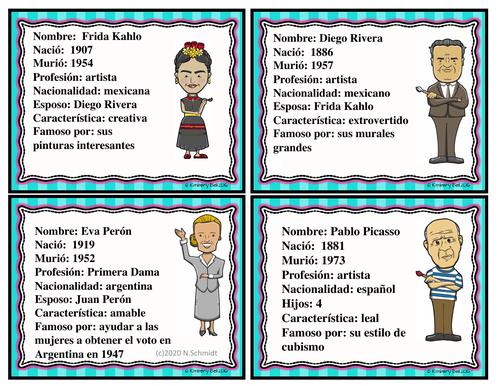Hispanic Leaders Character Cards: Hispanic Heritage Month (ENGLISH Version)