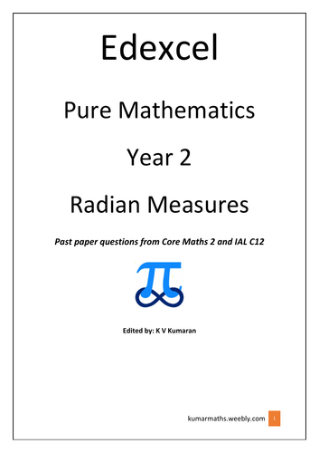 Pearson Edexcel GCE Maths Year 2 Radian Measures past exam questions from C2 and IAL C12