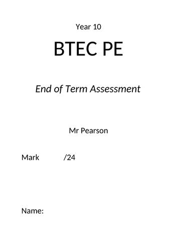 BTEC TECH Sport, Component 2 (Exam Unit), Assessment