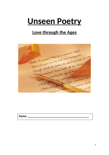 Unseen Poetry Love through the Ages Booklet (AQA A-Level)