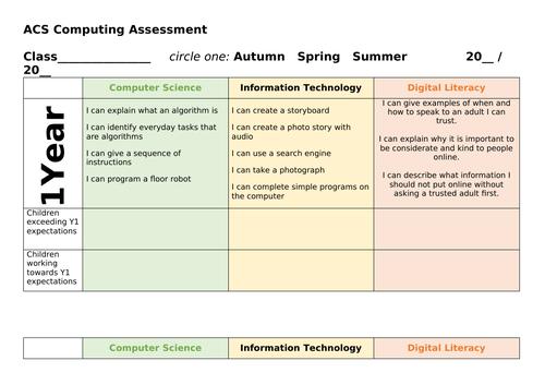 Computing Skills Progression/ Assessment Grid