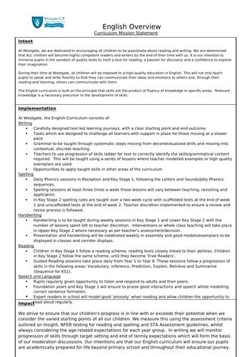 English Primary Subject Mission Statement, Intent, Implementation and Impact