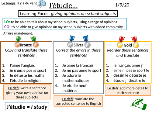 Les matières scolaires - Year 7 opinions