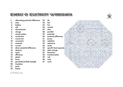 Energy & electricity word search